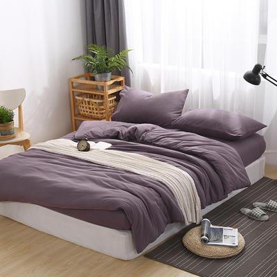 2020新品60S全棉磨毛A类绣花全棉针织棉四件套床上用品四件套 1.8m床单款四件套 浅紫
