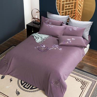 2021新品60S长绒棉针织四件套 1.5m床单款四件套 荷塘月色—紫