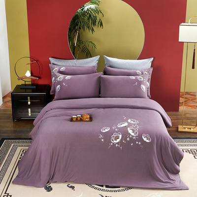 2021新品60S长绒棉针织四件套 1.5m床单款四件套 秋水伊人—紫