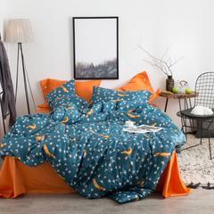 2017 新款60新品长绒棉系列四件套 标准 小狐狸 fox(蓝橙)
