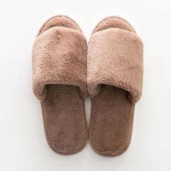 兔兔绒拖鞋 37-38码(女款) C款-卡其色