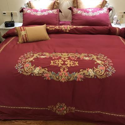 涞乐家纺2018高端婚庆刺绣系列四件套大红 1.8m(6英尺)床 蔷薇之夜