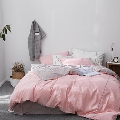 2018新款60S出口水洗棉/简约系列-慕斯小姐 1.5m(5英尺)床 粉灰(棚拍)