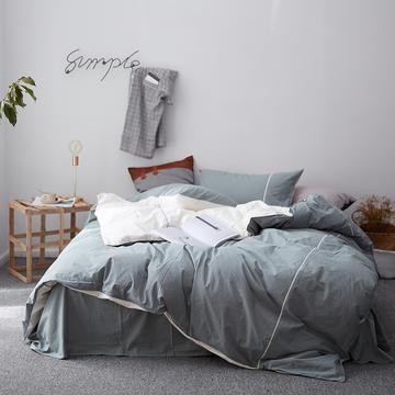 2018新款60S出口水洗棉/100%纯棉简约系列-慕斯小姐 1.5m(5英尺)床 绿米(棚拍)