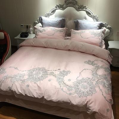 涞乐家居长绒棉刺绣60贡缎绣花重工艺四件套床上用品四件套 标准号四件套(200*230被套) 歌莉娅