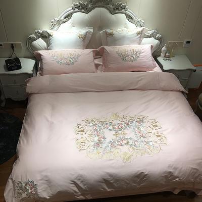 涞乐家居长绒棉刺绣60贡缎绣花重工艺四件套床上用品四件套 标准号四件套(200*230被套) 洛娜