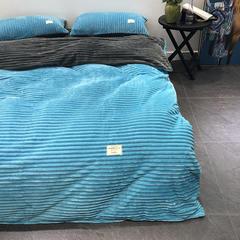 涞乐家纺魔法绒四件套 1.5/1.8四件(200*230被套) 湖蓝+灰