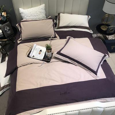 涞乐全棉磨毛四件套瑟琳系列 标准四件套(200*230) 紫荆