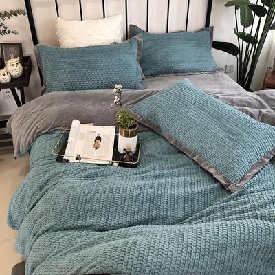 涞乐家居2018秋冬兔兔绒四件套保暖加厚床上被套 标准四件套(200*230) 兔兔绒蓝