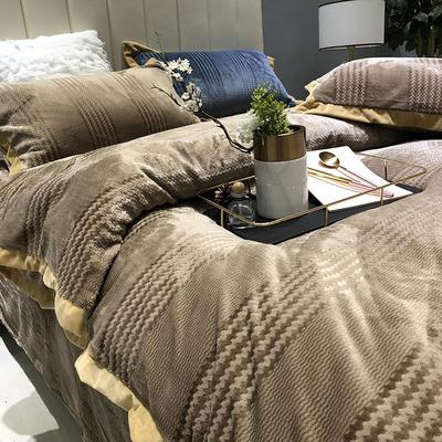 涞乐2018秋冬新品 出口金丝提花绒四件套6色入 标准四件套(200*230) 棕榈