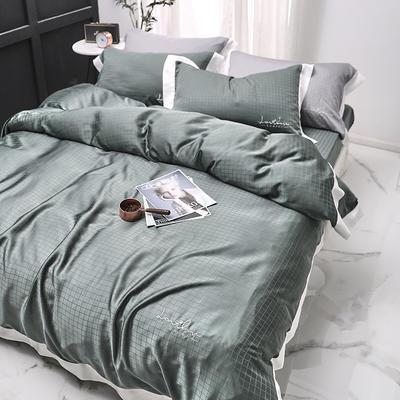 涞乐80S天丝四件套双面莱赛尔床上用品被套床单伯爵系列 标准四件套(200*230) 抹茶绿