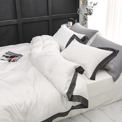 涞乐80S天丝四件套双面莱赛尔床上用品被套床单伯爵系列 标准四件套(200*230) 象牙白