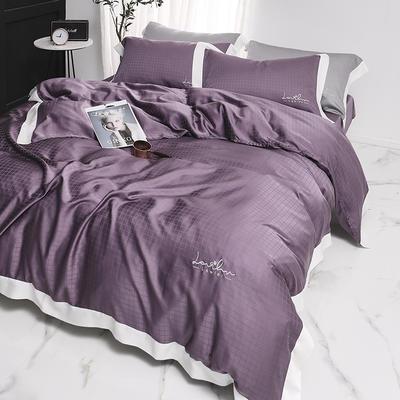 涞乐80S天丝四件套双面莱赛尔床上用品被套床单伯爵系列 标准四件套(200*230) 薰衣紫