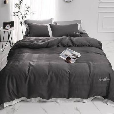 涞乐80S天丝四件套双面莱赛尔床上用品被套床单伯爵系列 标准四件套(200*230) 雅致灰