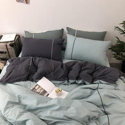 2019春夏新品涞乐60水洗棉慕斯小姐四件套9色全棉床上用品 标准四件套(200*230) 慕斯咖啡绿