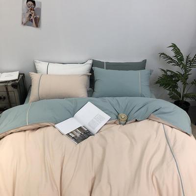 2019春夏新品涞乐60水洗棉慕斯小姐四件套9色全棉床上用品 标准四件套(200*230) 慕斯香槟绿