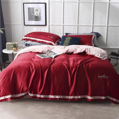 涞乐2019春夏新品60天丝小款四件套logo刺绣双面莱赛尔床上用品 标准四件套(220*230) 威尼斯红