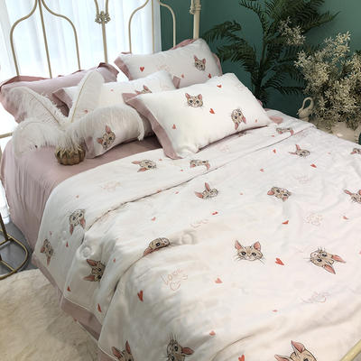 涞乐天丝夏被四件套双面莱赛尔纤维60支,夏被+床单+枕套一对,可单买 标准(200*230) 猫咪物语