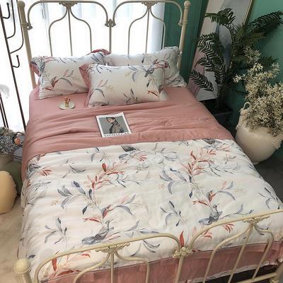 涞乐天丝夏被四件套双面莱赛尔纤维60支,夏被+床单+枕套一对,可单买 标准(200*230) 茑萝