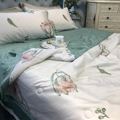 涞乐天丝夏被四件套双面莱赛尔纤维60支,夏被+床单+枕套一对,可单买 标准(200*230) 茵素