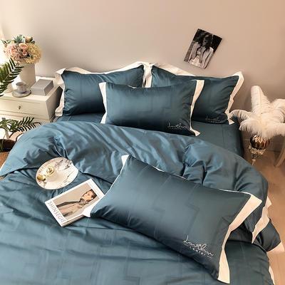 涞乐2019新品100支四件套双股进口匹马棉提花刺绣赛尔系列 标准四件套(200*230) 月光蓝