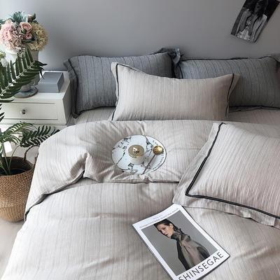 色织有机棉四件套全棉刺绣床上用品条纹被套 标准四件套(200*230) 古典咖