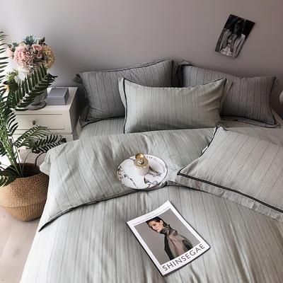 色织有机棉四件套全棉刺绣床上用品条纹被套 标准四件套(200*230) 湖绿