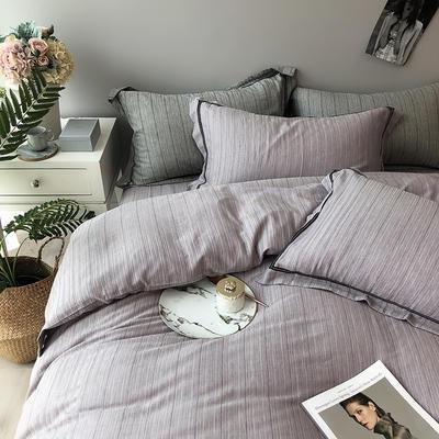 色织有机棉四件套全棉刺绣床上用品条纹被套 标准四件套(200*230) 玫瑰紫