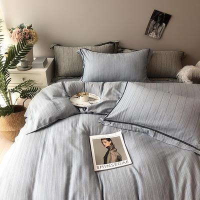 色织有机棉四件套全棉刺绣床上用品条纹被套 标准四件套(200*230) 青雾蓝