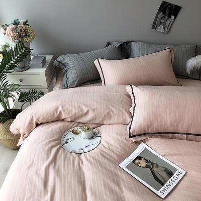 色织有机棉四件套全棉刺绣床上用品条纹被套 标准四件套(200*230) 山茶粉
