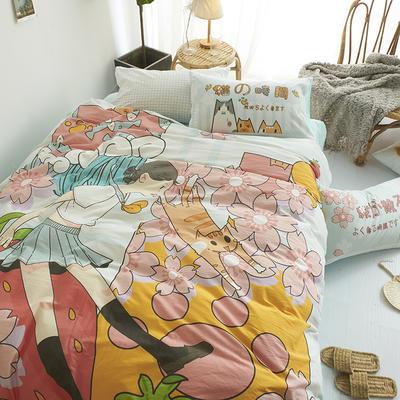 涞乐 2019水洗棉数码印花四件套 日式全棉床上用品被套 1.2m三件套(150*200) 樱花与猫