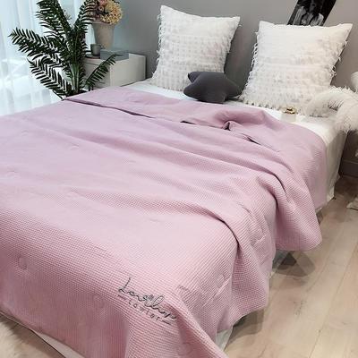 涞乐2019华夫格全棉夏被 纯棉双人刺绣夏凉被空调被 200X230cm 华夫格 紫