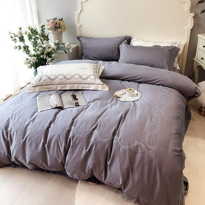 涞乐2019新品自然系列100支四件套简约刺绣床上用品 标准四件套(200*230) 自然 碳木灰(1)