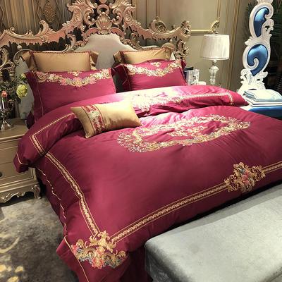 涞乐家纺高端婚庆刺绣系列四件套大红 1.5m(5英尺)床 罗曼蒂