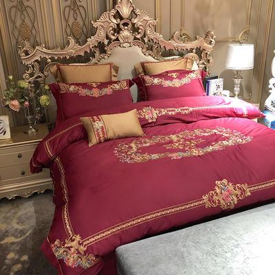 涞乐家纺高端婚庆刺绣系列四件套大红 1.8m(6英尺)床 蔷薇之夜