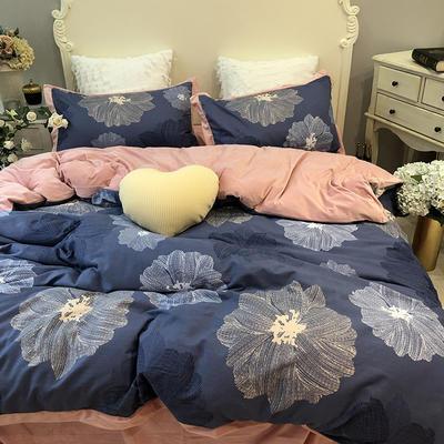 涞乐新品棉+绒四件套全棉磨毛宝宝绒双拼床上用品 1.5/1.8四件套(200*230) 温莎棉+绒