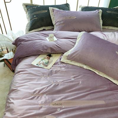 宝宝绒绣花四件套臻丝绒银河系 标准四件套(200*230) 银河系雾紫