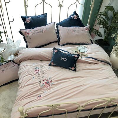 秋冬新品臻丝绒刺绣四件套 玫瑰庄园 标准四件套 玫瑰庄园