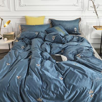 涞乐秋冬新品臻丝绒刺绣小蜜蜂 标准四件套 绒小蜜蜂蓝