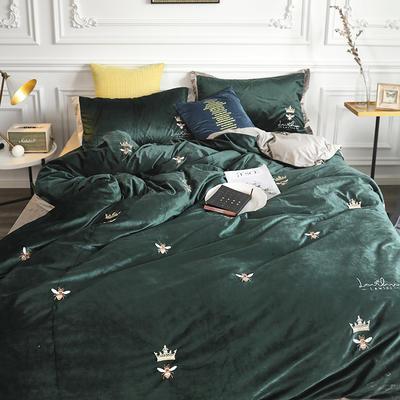 涞乐秋冬新品臻丝绒刺绣小蜜蜂 标准四件套 绒小蜜蜂绿