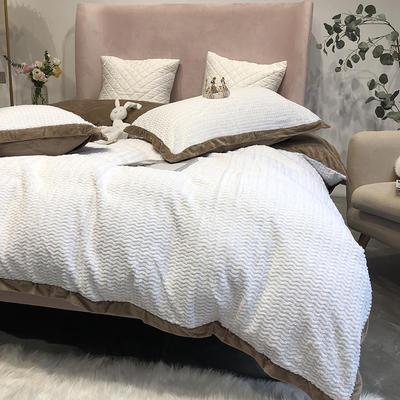 涞乐家居秋冬兔兔绒四件套保暖加厚床上被套 标准四件套(200*230) 兔兔绒白