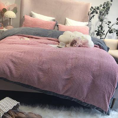 涞乐家居秋冬兔兔绒四件套保暖加厚床上被套 标准四件套(200*230) 兔兔绒粉