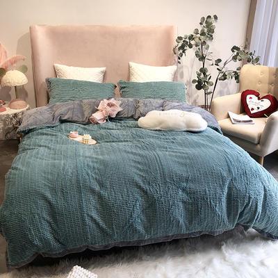 涞乐家居秋冬兔兔绒四件套保暖加厚床上被套 标准四件套(200*230) 兔兔绒蓝