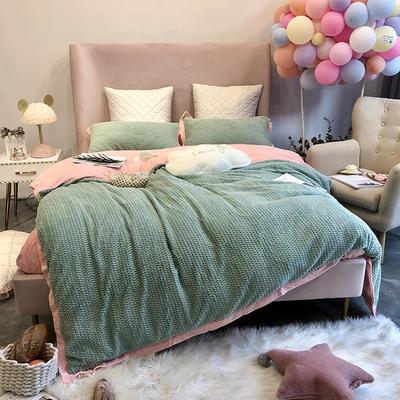 涞乐家居秋冬兔兔绒四件套保暖加厚床上被套 标准四件套(200*230) 兔兔绒绿