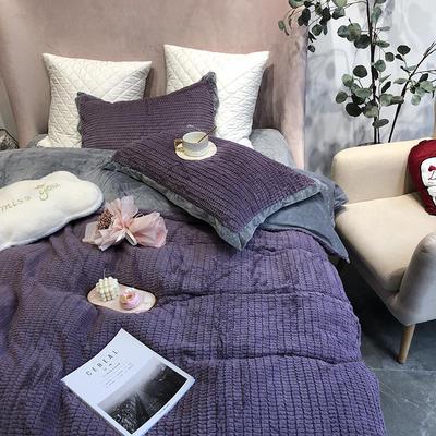 涞乐家居秋冬兔兔绒四件套保暖加厚床上被套 标准四件套(200*230) 兔兔绒紫