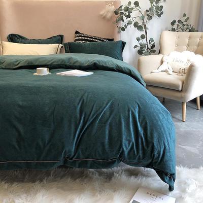 涞乐秋冬新品保暖加厚浮雕绒巴赫系列 标准四件套 巴赫冰川绿