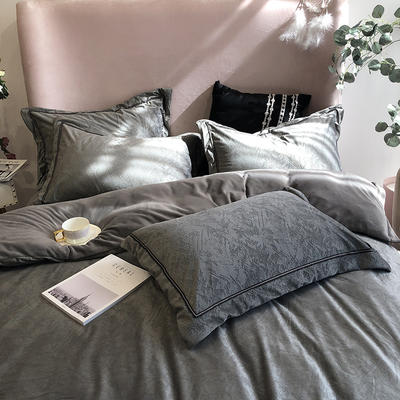 涞乐秋冬新品保暖加厚浮雕绒巴赫系列 标准四件套 巴赫陨石灰
