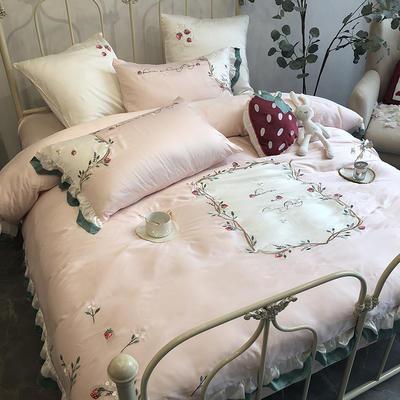 涞乐春夏新品天丝绣花四件套双面天丝刺绣被套床单 标准四件套(200*230) 草莓小姐
