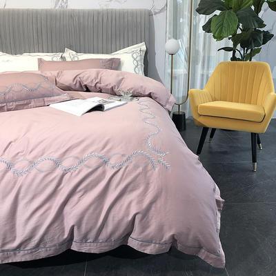 涞乐新品自然系列100支四件套简约刺绣床上用品 标准四件套(200*230) 自然 藕粉(1)