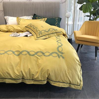涞乐新品自然系列100支四件套简约刺绣床上用品 标准四件套(200*230) 自然 沙石黄(1)